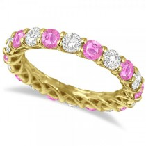 Luxury Diamond & Pink Sapphire Eternity Ring 14k Yellow Gold 4.20ct