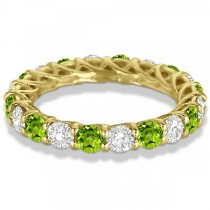 Luxury Diamond & Peridot Eternity Ring Band 14k Yellow Gold (4.20ct)