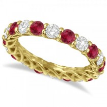 Luxury Diamond & Ruby Eternity Ring Band 14k Yellow Gold (4.20ct)