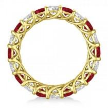 Luxury Diamond & Ruby Eternity Ring Band 14k Yellow Gold (4.20ct)
