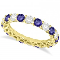Luxury Diamond & Tanzanite Eternity Ring Band 14k Yellow Gold (4.20ct)