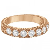 Antique Scrollwork Diamond Wedding Ring Band 14k Rose Gold (1.04ct)