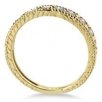 Vintage Style Diamond Wedding Ring Band Half-Way 14k Yellow Gold 0.55ct