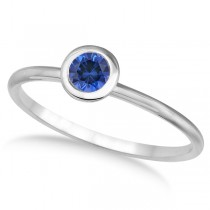 Blue Sapphire Bezel-Set Solitaire Ring in 14k White Gold (0.50ct)