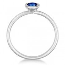 Blue Sapphire Bezel-Set Solitaire Ring in 14k White Gold (0.50ct)|escape