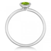Peridot Bezel-Set Solitaire Ring in 14k White Gold (0.65ct)|escape