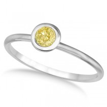 Fancy Yellow Canary Diamond Bezel-Set Solitaire Ring 14k White Gold (0.50ct)