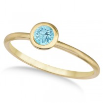 Aquamarine Bezel-Set Solitaire Ring in 14k Yellow Gold (0.65ct)