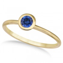 Blue Sapphire Bezel-Set Solitaire Ring in 14k Yellow Gold (0.50ct)