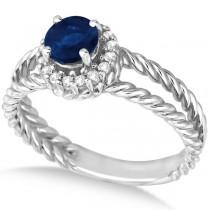 Round Cut Sapphire & Diamond Split Shank Ring 14k White Gold (0.95ct)