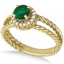 Round Cut Emerald & Diamond Split Shank Ring 14k Yellow Gold (0.65ct)