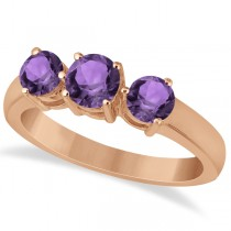 Three Stone Round Amethyst Gemstone Ring in 14k Rose Gold 1.50ct