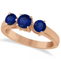 Three Stone Round Blue Sapphire Gemstone Ring 14k Rose Gold 1.50ct