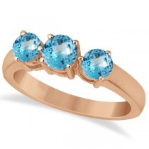 Three Stone Round Blue Topaz Gemstone Ring 14k Rose Gold 1.50ct