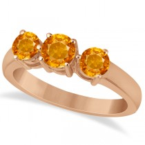 Three Stone Round Citrine Gemstone Ring in 14k Rose Gold 1.50ct