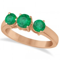 Three Stone Round Emerald Gemstone Ring in 14k Rose Gold 1.50ct