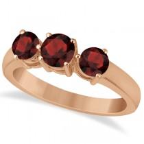 Three Stone Round Garnet Gemstone Ring in 14k Rose Gold 1.50ct