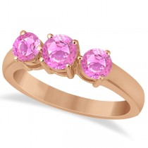 Three Stone Round Pink Sapphire Gemstone Ring 14k Rose Gold 1.50ct