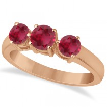 Three Stone Round Ruby Gemstone Ring in 14k Rose Gold 1.50ct