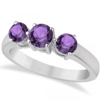 Three Stone Round Amethyst Gemstone Ring in 14k White Gold 1.50ct