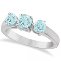 Three Stone Round Aquamarine Gemstone Ring in 14k White Gold 1.50ct