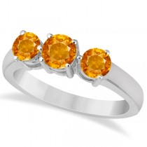 Three Stone Round Citrine Gemstone Ring in 14k White Gold 1.50ct