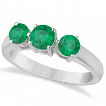 Three Stone Round Emerald Gemstone Ring in 14k White Gold 1.50ct