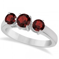 Three Stone Round Garnet Gemstone Ring in 14k White Gold 1.50ct