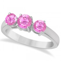 Three Stone Round Pink Sapphire Gemstone Ring 14k White Gold 1.50ct