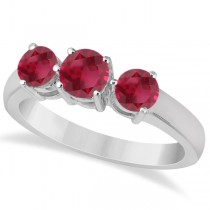 Three Stone Round Ruby Gemstone Ring in 14k White Gold 1.50ct