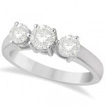 Three Stone Diamond Anniversary Band in 14k White Gold 1.01ct