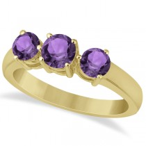 Three Stone Round Amethyst Gemstone Ring in 14k Yellow Gold 1.50ct