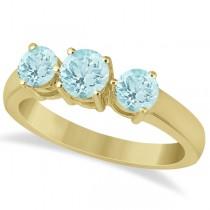 Three Stone Round Aquamarine Gemstone Ring in 14k Yellow Gold 1.50ct