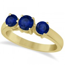 Three Stone Round Blue Sapphire Gemstone Ring 14k Yellow Gold 1.50ct