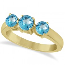 Three Stone Round Blue Topaz Gemstone Ring 14k Yellow Gold 1.50ct