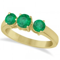 Three Stone Round Emerald Gemstone Ring in 14k Yellow Gold 1.50ct