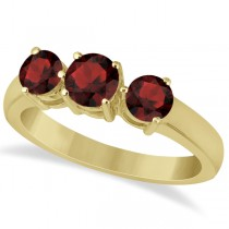 Three Stone Round Garnet Gemstone Ring in 14k Yellow Gold 1.50ct