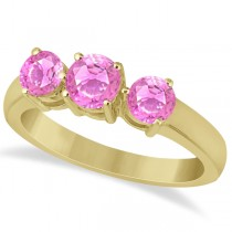 Three Stone Round Pink Sapphire Gemstone Ring 14k Yellow Gold 1.50ct
