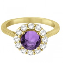 Halo Diamond Accented and Amethyst Lady Di Ring 14K Yellow Gold (2.14ct)