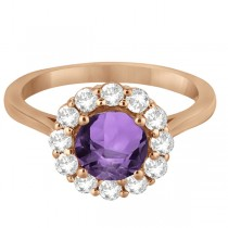 Halo Diamond Accented and Amethyst Lady Di Ring 18k Rose Gold (2.14ct)