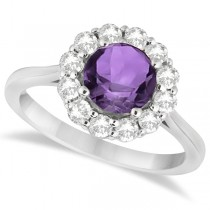 Halo Diamond Accented and Amethyst Lady Di Ring 18k White Gold (2.14ct)