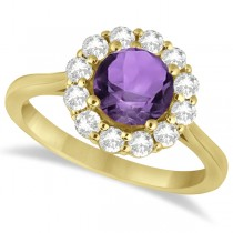 Halo Diamond Accented and Amethyst Lady Di Ring 18k Yellow Gold (2.14ct)