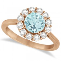 Halo Diamond Accented and Aquamarine Lady Di Ring 14K Rose Gold (2.14ct)