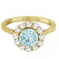 Halo Diamond Accented and Aquamarine Lady Di Ring 14K Yellow Gold (2.14ct)