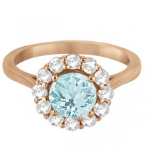 Halo Diamond Accented and Aquamarine Lady Di Ring 18k Rose Gold (2.14ct)