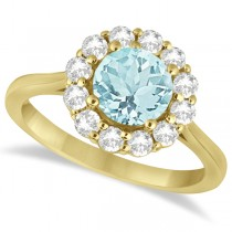 Halo Diamond Accented and Aquamarine Lady Di Ring 18k Yellow Gold (2.14ct)