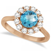 Halo Diamond Accented and Blue Topaz Lady Di Ring 14K Rose Gold (2.14ct)