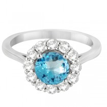 Halo Diamond Accented and Blue Topaz Lady Di Ring 14K White Gold (2.14ct)