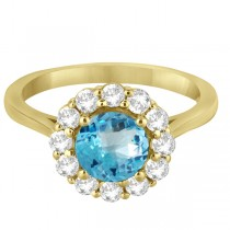 Halo Diamond Accented and Blue Topaz Lady Di Ring 14K Yellow Gold (2.14ct)