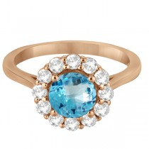 Halo Diamond Accented and Blue Topaz Lady Di Ring 18k Rose Gold (2.14ct)